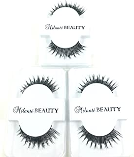f013cbdb992 Milanté Beauty 3 Pack Chic False Lashes Black Natural Thick Long Full  Reusable Fake Strip Eyelashes