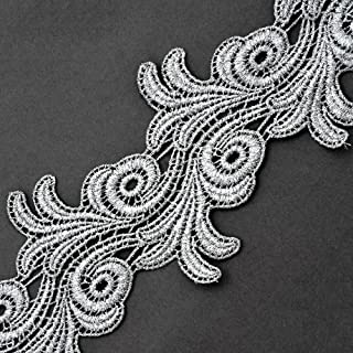 "2- Yards 4"" Metallic Lace Trim for Bridal, Costume or Jewelry, Crafts and Sewing, LP-MX-4659 (Silver)"