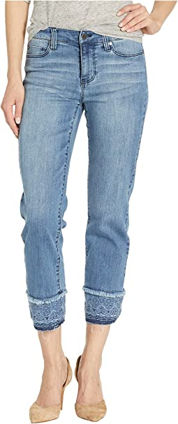 Sadie Crop Straight Jeans w/ Eyelet Cuff in Melbourne Light