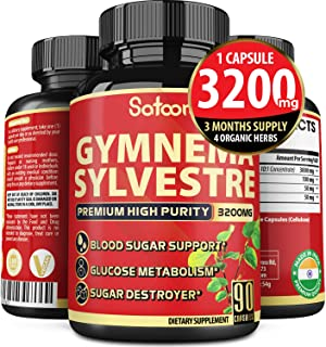 Highest Potency Pure Gymnema Sylvestre Extract Capsules 3200mg with Organic Neem, Natural Holy Basil and Turmeric Curcumin...