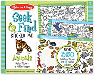 Melissa & Doug Seek & Find Sticker Pad - Animals (400+ Stickers, 14 Scenes to Color), Multicolor
