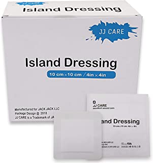 [Pack of 50] 4x4 inches Adhesive Island Dressing - Sterile Bordered Gauze Pads - Adhesive Wound Dressing - Latex Free, Individually Wrapped Island Gauze Dressing