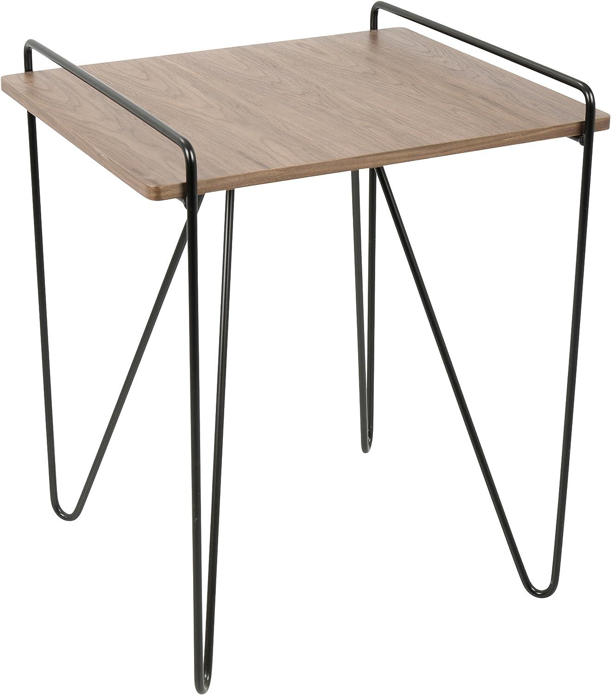LumiSource TBE-LOFT WL+BK Loft Mid-Century Modern End Table, Walnut Black