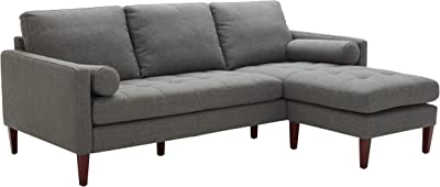 "Amazon Brand – Rivet Aiden Mid-Century Modern Reversible Sectional Sofa, 86""W, Dark Grey"