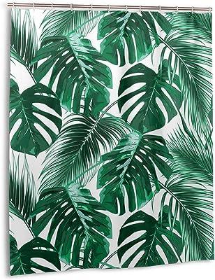 LB Palm Leaf Shower Curtain 59x71 inch Green Tropical Foliage,Cream Bath Curtain with Hooks,Anti Mould Polyester Fabric Waterproof Bathroom Curtains