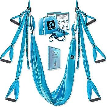 Yoga4You Aerial Yoga Swing Set - Yoga Hammock Swing - Trapeze Yoga Kit - 2 Extension Straps - Wide Flying Yoga Inversion Tool - Antigravity Ceiling Hanging Yoga Sling - Adult Kids Arial