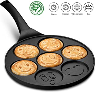 Gourmia GPA9540 Emoji Smiley Face Pancake Pan - Fun 7 Emoji Mini Pancake and Flapjack Maker - Die Cast Aluminum, Double Layer Nonstick Coating - Cool-to-Touch Handle