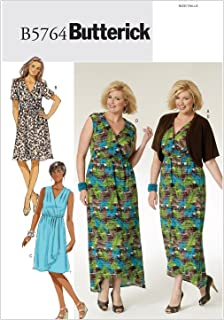 BUTTERICK PATTERNS B5764 Women's Shrug, Dress and Belt, Size KK (26W-28W-30W-32W)