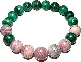 SatinCrystals Rhodochrosite Bracelet 9mm Green Malachite Pink Gemstone Round Stretch Handmade Power Stone B01