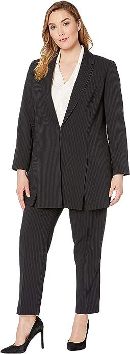 Plus Size Pinstripe Topper Jacket Pants Suit