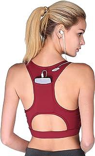 7e35c2a49e Sports Bra High Impact Fitness Workout Gym Padded Yoga Bra with Back Pocket