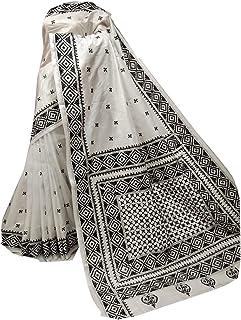 بلوزة ساري بيضاء نسائية بنغال هندي بيضاء لحفلة من الحرير بانغالور ساري كامل الجسم من قماش كانثا منسوج يدويًا 918a