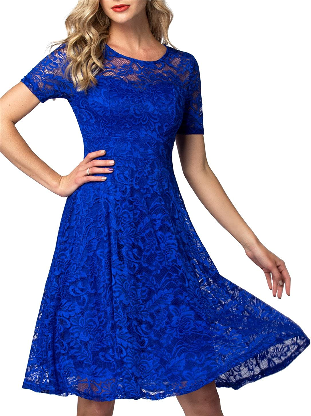 AONOUR Women's Lace Cocktail Dresses Elegant Swing Dress Bridesmaid Party Dress with Short Sleeve