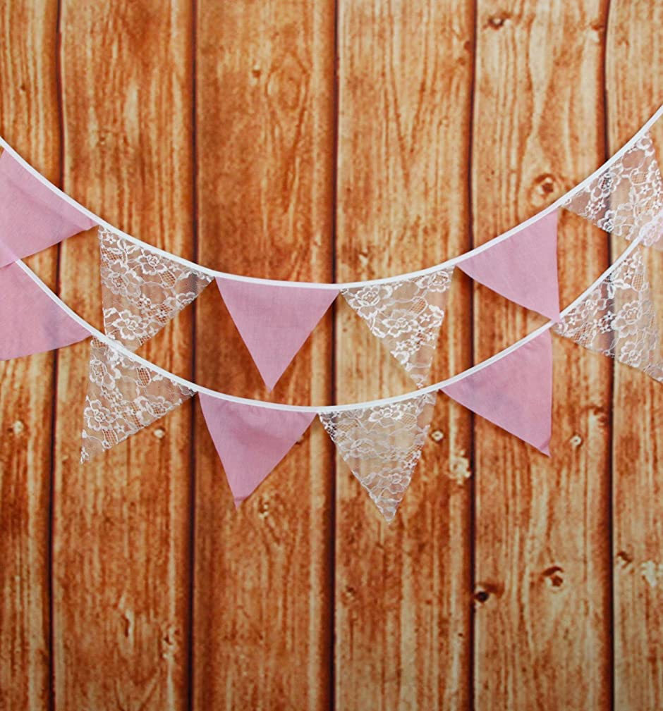 LOVENJOY Pink Burlap and White Floral Lace Cotton Pennant Banner for Wedding Bridal Shower Decoration