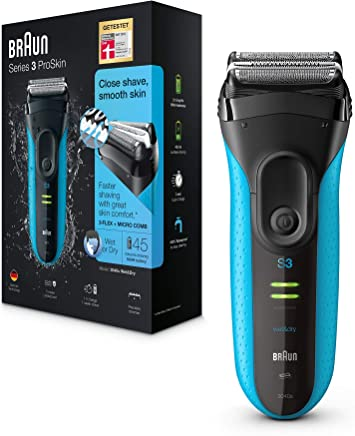 Braun Series 3 ProSkin 3040s Elektrorasierer, mit Präzisionstrimmer, wiederaufladbarer und kabelloser Wet und Dry Rasierer Herren, schwarz/blau