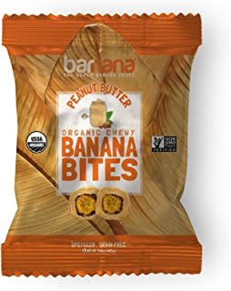 Organic Peanut Butter Chewy Banana Bites - 1.4 Ounce (12 Count) - Delicious Barnana Coated Potassium Rich Banana Snacks - Lunch Dinner Sports Hiking Natural Snack - Whole 30, Paleo, Vegetarian