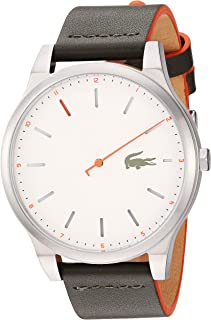 Lacoste Men's Kyoto Stainless Steel Quartz Watch with Leather Strap, Beige, 20 (Model: 2010967)