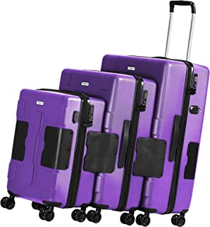 TACH V3 3-Piece Hardcase Connectable Luggage & Carryon Travel Bag Set | Rolling Suitcase with Patented Built-In Connecting System | Easily Link & Carry 9 Bags At Once (purple)