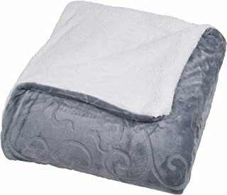 Bedford Home Floral Etched Fleece Blanket with Sherpa, Full/Queen, Grey