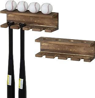 MyGift Burnt Wood Wall-Mounted Baseball Bat Rack and Ball Storage Shelf, Set of 2