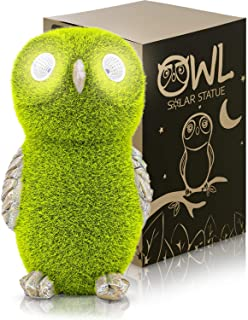 Solar Garden Statue of Owl with Solar Light Eyes - Outdoor Lawn Decor Garden Owl Figurine for Patio, Balcony, Yard, Lawn O...