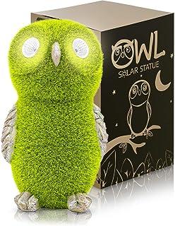 Solar Garden Statue of Owl with Solar Light Eyes - Outdoor Lawn Decor Garden Owl Figurine for Patio, Balcony, Yard, Lawn O...
