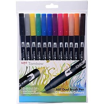 Tombow - Rotuladores (12 unidades, punta de pincel doble, colores primarios): Amazon.es: Oficina y papelería