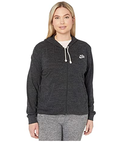 Nike Plus Size NSW Gym Vintage Hoodie Full Zip (Black/Sail) Women