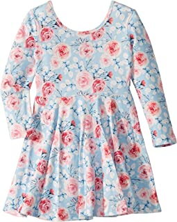 Pretty Flowers Long Sleeve Mabel Dress (Toddler/Little Kids/Big Kids)