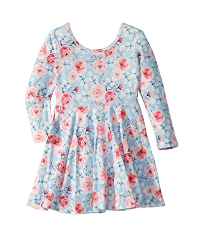Rock Your Baby Pretty Flowers Long Sleeve Mabel Dress (Toddler/Little Kids/Big Kids) (Blue) Girl