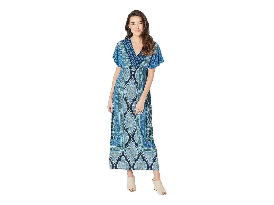 London Times Dolman Sleeve Warp Top Maxi Dress (Navy/Blue) Women