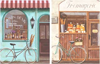 Dcine Cuadro de Madera de Bicicleta Vintage. Set de 2