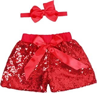 Baby Girls Shorts Kids Sparkle Toddler Sequin Shorts Glitter on Both Sides Birthday Outfits with Headband