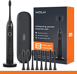 WOLK T6421 Ultra Whitening Toothbrush with Pressure Sensor & 5 Brushing Modes, 8 Dupont Brush Heads, Premium Travel Case, ...