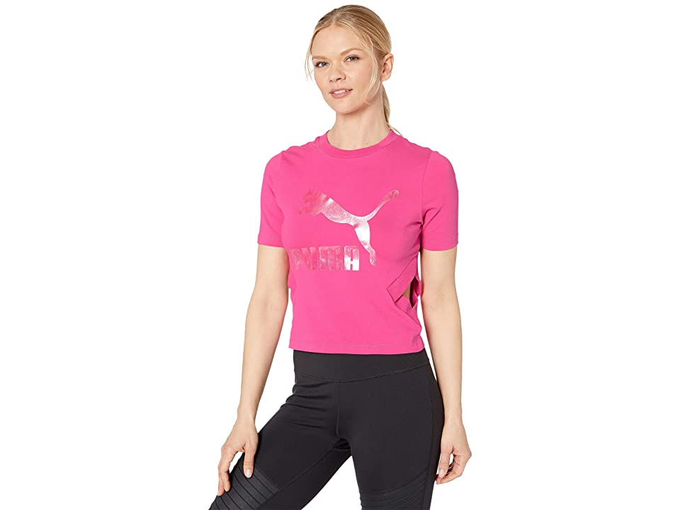 PUMA Classics Logo Cut Out Top (Fuchsia Purple) Women