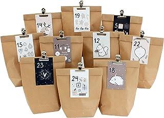 DIY kalendarz adwentowy do wypełnienia - 24 torebki na prezenty i 24 wizytówki z numerami i metalowymi klipsami - różowo-n...