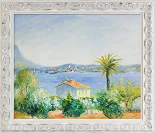 overstockArt RN7199-FR-55036020X24 Tamaris, France with Brimfield Cottage White Framed Hand Painted Oil Reproduction, 29