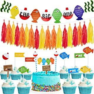 The Big One Fish Cake Topper First Birthday Party Banner and Tassel Garland and 10 Pieces Gone Fishing Themed Cupcake Picks for Fish Themed Party