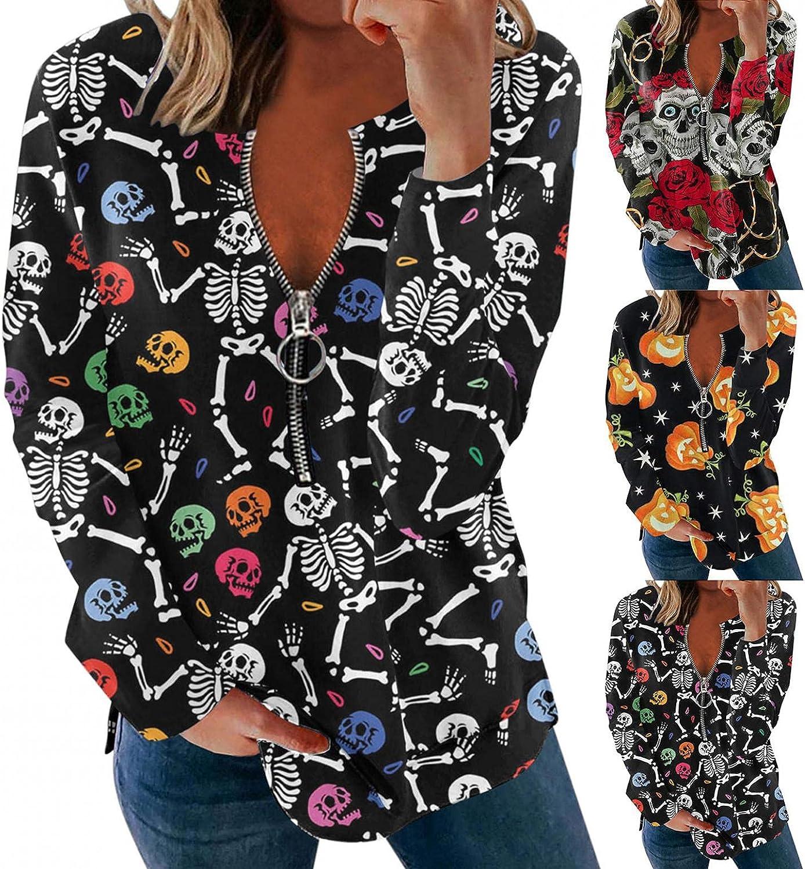 Fudule Halloween Costumes for Women Vintage Skull Pumpkin Graphic Shirts Zip Up V Neck Sweatshirts Long Sleeve Blouses