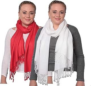 Elegant Pashmina Silk Blend Soft Wrap Scarf Shawl for Women 2 Pack