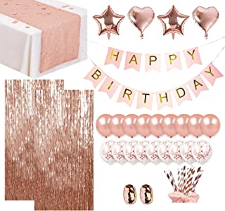 Luxomi Rose Gold Party Decorations Supplies 52 Pack - 18 inch Foil Balloons, Confetti Balloons, Sequin Table Runner, Fring...