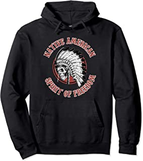 Native American Indian Chief Skull War Bonnet Freedom Pullover Hoodie