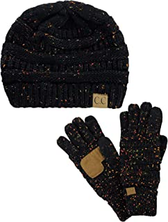2485e66ac1775 C.C Unisex Soft Stretch Cable Knit Beanie and Anti-Slip Touchscreen Gloves  2 Pc Set
