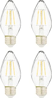 AmazonBasics 60 Watt Equivalent, Clear, Dimmable - F15, Soft White, 4-Pack