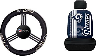 NFL Los Angeles Rams Rally Seat Cover with Leather Steering Wheel Cover, One Size, Black