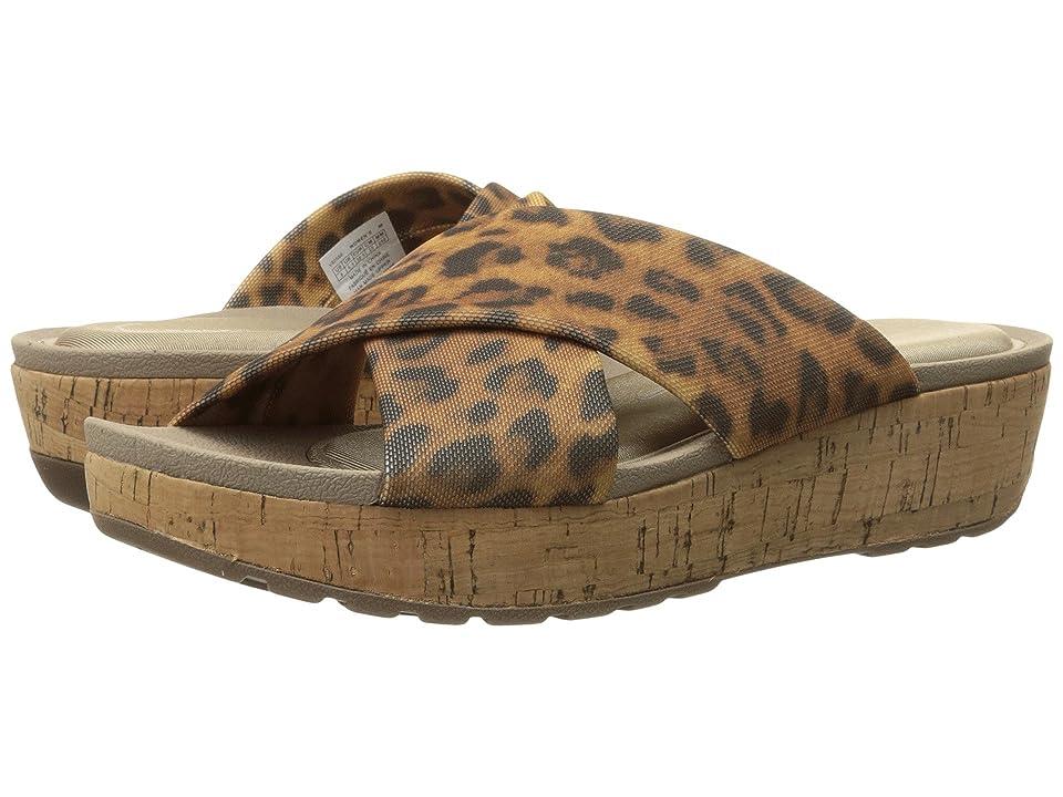 Rockport Land Boulevard Cross Slide Flatform Sandal (Brown Leopard Stretch) Women