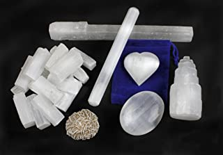 Selenite Protection Collection: 1.5 Sticks (17-20 pcs) Palm Stone Heart Tower 8 Stick 5.5 Massage Wand Desert Rose Stone E...
