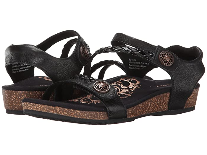 Aetrex  Jillian Quarter Strap (Black) Womens Sandals