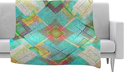 80 X 60 Kess InHouse Cvetelina Todorova Day Multicolor Geometric Fleece Throw Blanket 80 by 60-Inch