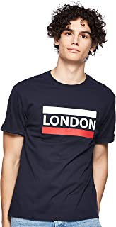 Giordano Men's 01029206 Crew Neck Short Sleeve Men's Union Jack Print Tee's, Blue (Signature Navy[blue] 20), Small